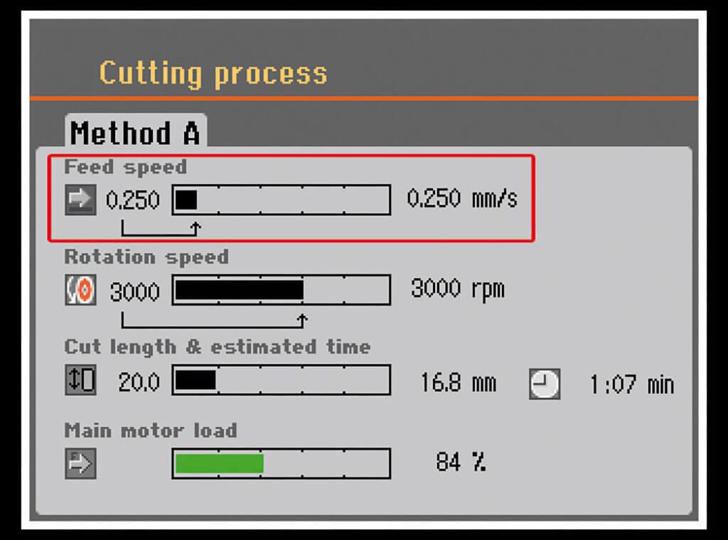 Control de velocidad de avance inteligente Secotom
