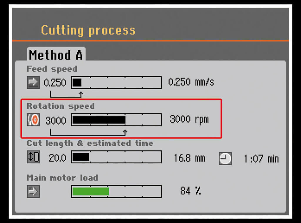 Secotom variable cutoff wheel speed